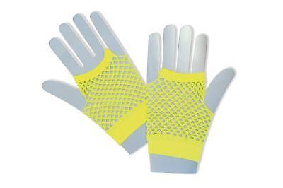 Neon Gelb Fischnetz (Neu Fischnetz Handschuhe Shorts Neongelb)