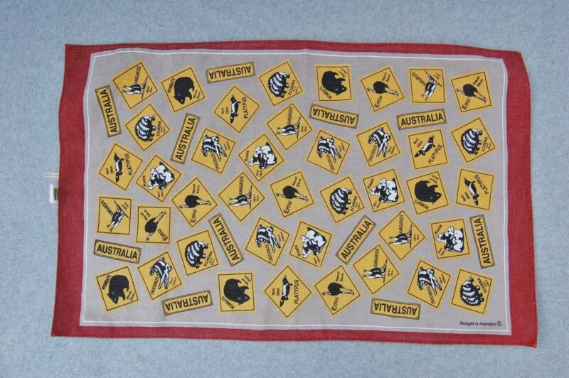 "Designed in Australia Road Sign Animal Linen Kitchen Towel 30"" x 19"" Souvenir"