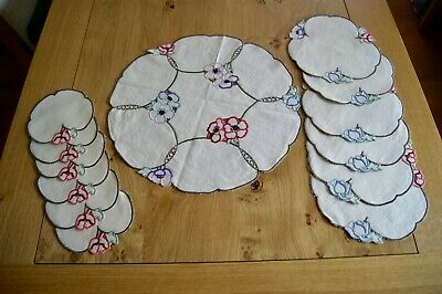 SET of 13 VINTAGE UNBLEACHED NATURAL LINEN TABLE MATS Floral Embroidery #3