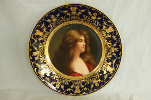 ROYAL VIENNA PORCELAIN ASTI REFLEXION PORTRAIT PLATE 100% HAND PAINTED WAGNER