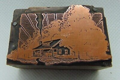 Vintage Printing Letterpress Printers Block House Surrounded By Trees