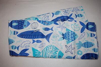 Vinyl Like Tablecloth BLUE AQUA FISH SEA OCEAN Round 70
