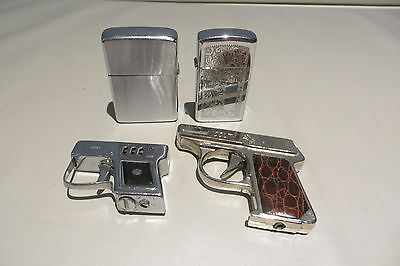 TWO ZIPPO AND TWO GUN VINTAGE LIGHTERS  FREE UK P&P