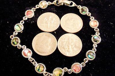 bling silver plated beach round abalone paua shell fashion bracelet jewelry