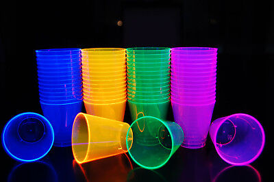2Oz 40 Count Neon Assorted Blacklight Reactive Plastic Shot Glasses