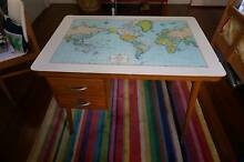 Danishdesk fyi beautiful old desk with world map 2 drawers desk is in good vintage condition with a few scratches and small chip out of top laminate gumiabroncs Image collections