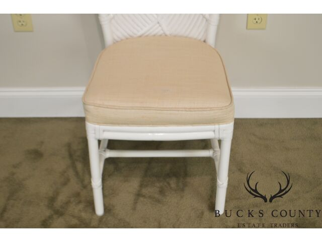 McGuire of San Francisco Vintage White Painted Rattan Set of 4 Dining Chairs