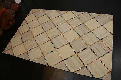 nr 6 Hochwertige Design Patchwork Kelim aus Wolle Teppich Kilim ca 200 x 140 cm - 6' Wolle Teppich