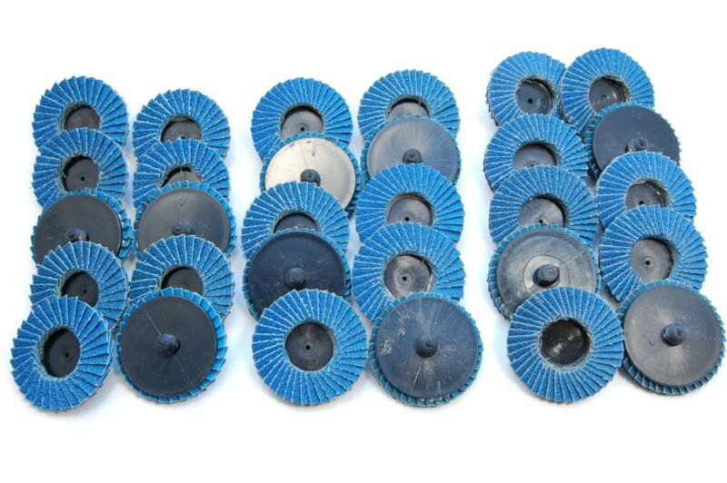 "(30pk) 2"" Inch Assorted Flap Sanding Disc Wheels Type R Roloc Twist Lock Disk"