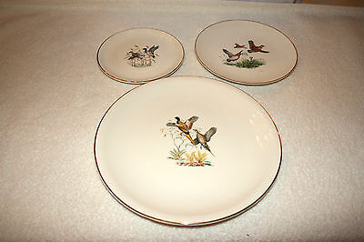 ANTIQUE RARE 3 TIER COOKIE STAND WILD FOWL DESIGN EASTERN CHINA COMPANY USA  ()