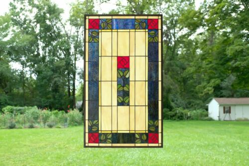 """20.5"""" x 34.75"""" Large Handcrafted stained glass window panel Rose Flower!"""