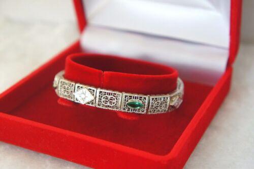 Antique Filigree 14k White Gold Art Deco Diamonds & Emeralds Bracelet