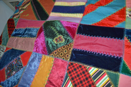 "ANTIQUE Embellished Victorian Crazy Quilt Top Silk Velvet Embroidery 70"" x 82"""