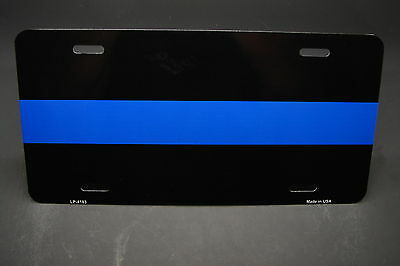THIN BLUE LINE POLICE METAL NOVELTY LICENSE PLATE FOR CARS AND TRUCKS ALUMINUM
