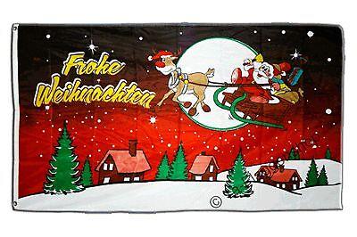 Frohe Weihnachten rot Hissflagge Weihnachtsmann Fahnen Flaggen 90x150cm