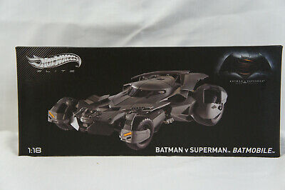Hot Wheels Elite Batman vs Superman Batmobile 1:18 Scale, New