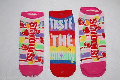 Womens 3 PR LOT Ankle Socks STARBURST SKITTLES Taste The Rainbow SHOE SIZE 4-10 - Skittles Socks