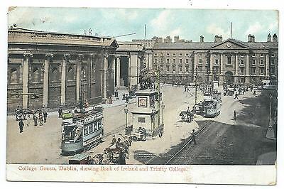 IRELAND - DUBLIN, COLLEGE GREEN, BANK of IRELAND, TRINITY COLLEGE Postcard TRAMS