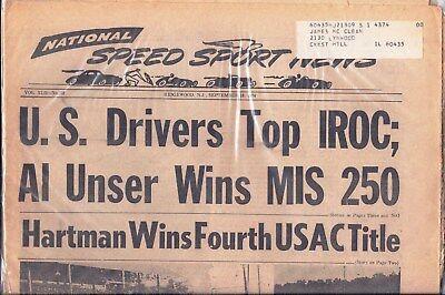 National Speed Sport News Sept 18 1974 Nascar Indy Formula 1 Iroc Usac Scca Nhra