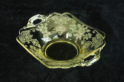 CAMBRIDGE GLASS GOLD APPLE BLOSSOM ETCH # 3400/1179 2 HANDLED BON BON CANDY DISH