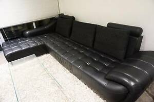 GENUINE BLACK LEATHER SOFA LOUNGE WITH CHAISE AND CUSHIONS Lane Cove North Lane Cove Area Preview