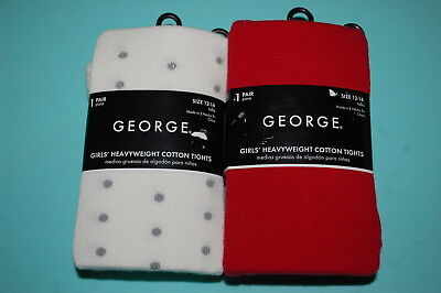 Girls 2 PAIR LOT TIGHTS Heavy Wt OFF WHITE w/ SILVER DOTS Solid Red SIZE 12-14