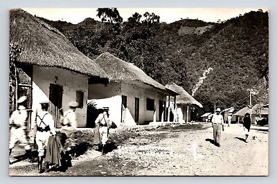 Postcard Vintage Real Photo Mexican Military Police Small Village Mountains A01 - Mexican Real Photo