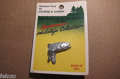 Harris pewter trout pin small  USA hat lapel fish  - Harris Pewter Pin
