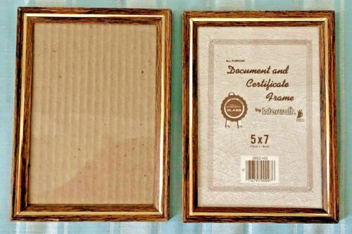 5 X 7 Document & Certificate Frame, 2 each, Metal with glass, Hang or Free Stand