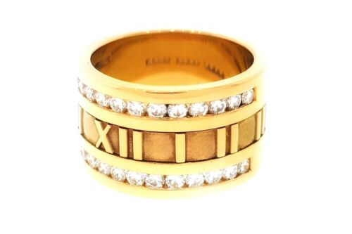 Tiffany & Co. Atlas Wide Diamond Band .90 Ct 18k Yellow Gold- Hm1885x