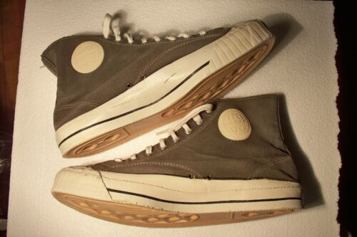 Rare Vintage US PRO KEDS Made In USA Gray Canvas Hi Top Tennis Shoes Men 11.5