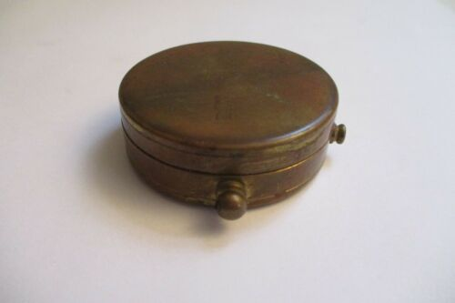 Antique Vintage Hinged Brass Pill Snuff Stash Box
