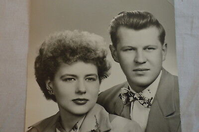 Vintage Photo Portrait Couple Sneers at Photographer This Had Better Be Good