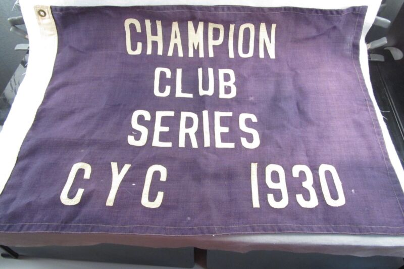 "vtg Boat Yacht Flag CHAMPION CLUB SERIES CYC 1930: 21.5"" x 30.5"" Upson-Walton Co"