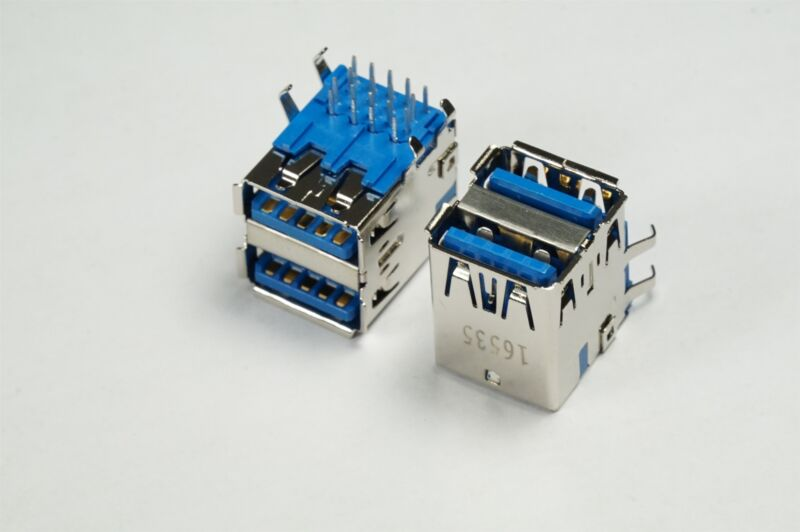 Lot of 2 48406-0003 Molex USB-A 3.0 Connector 18 Position 2 Port Thru Hole RA