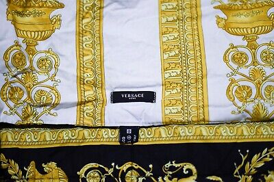 VERSACE Baroque Medusa Comforter King Size - Black & Gold Reversible- ITALY Made