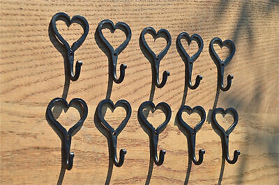 10 small wrought iron Shaker heart hooks folk art wall hanger door hook GHH1