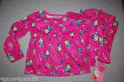 Monkey Pink Girls Pajamas - Girls Flannel Pajama Set BRIGHT PINK Ruffle MONKEY Headphones Music SIZE XS 4-5