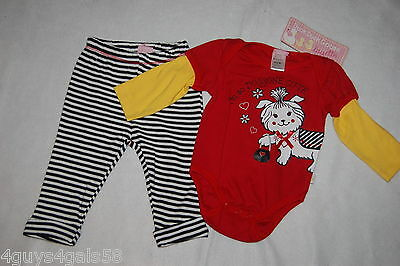 Toddler Baby Girls L/S Outfit RED YELLOW JUMPER Dog BLACK WHITE PANTS 3-6 MO