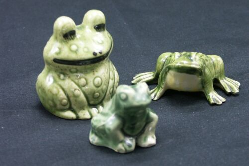Vintage Ceramic Frog Collection Lot of 3 Whimsical Fairy Garden
