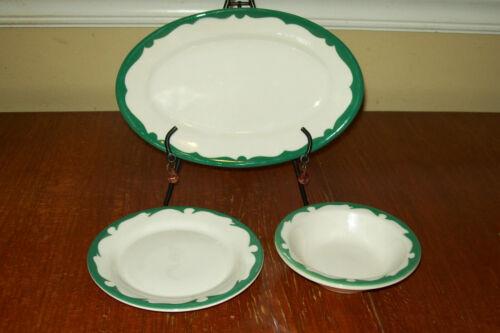Buffalo China Restaurant Green Scroll -  Oval Plate, Bread Plate & Sauce Bowl