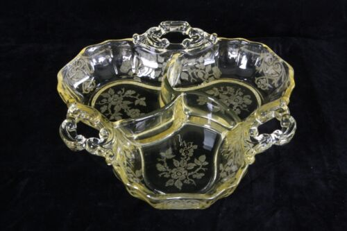 CAMBRIDGE GLASS GOLD KRYSTOL 3400/91 APPLE BLOSSOM ETCH 3 PART RELISH CANDY DISH