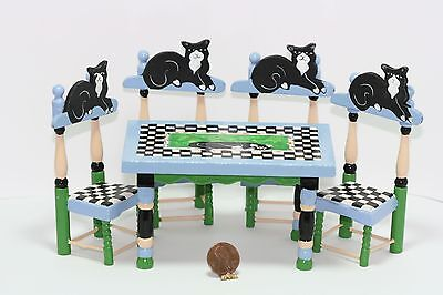Dollhouse Miniature Whimsical Black Cat Table & Chairs Set by Eye Candy