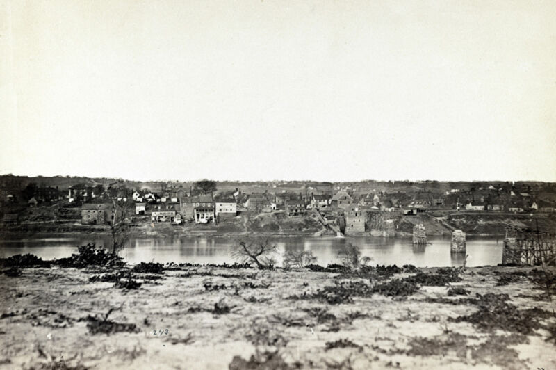 1863 Civil War Photo shows view of Fredericksburg Virginia from across the River