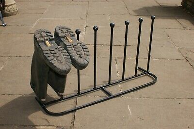 Solid Steel 4 Pair Long Welly Boot Stand - Black -  British Made