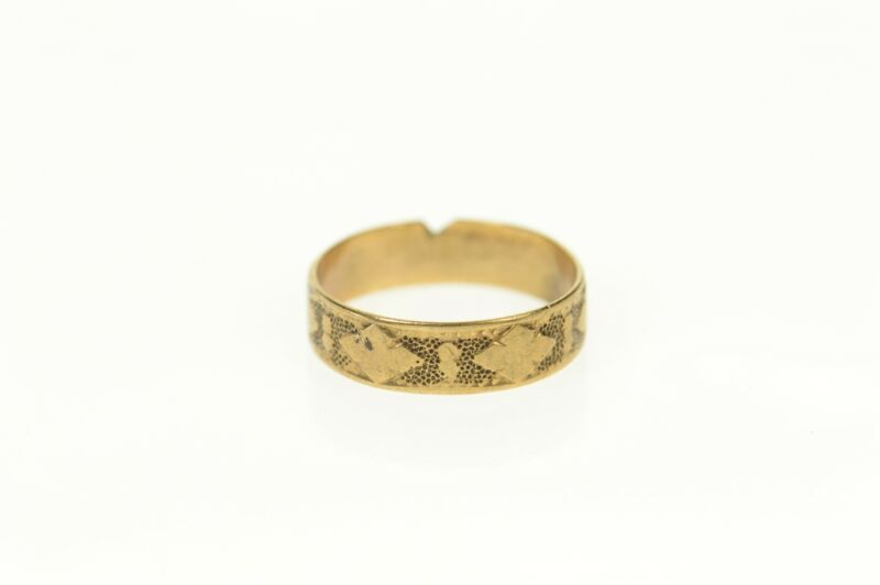 14K Victorian Ornate Patterned 3.5mm Baby Band Ring Size 0.5 Yellow Gold *88