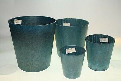 4 Saphire BLUE Plant Pots POT JOSH Very Strong Plastic Heights 19,17,12, &10cm