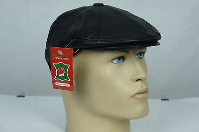 NEW Black 100% LEATHER Mens Gatsby Cap Newsboy Ivy Hat Golf Driving Flat Cabbie - Black Cabbie Hat