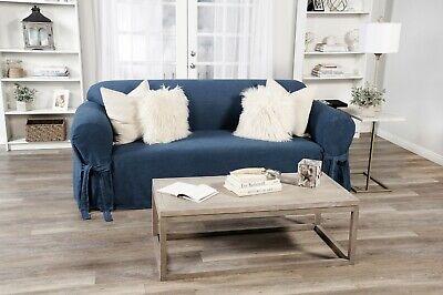 True Denim Blue Jean Cotton Washable  Sofa/Loveseat/ Chair Slipcover + Bow Tie Denim Solid Furniture Slipcover