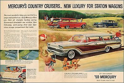 1959 Classic Car AD MERCURY Luxury Station Wagons Country Cruisers 2pgs  033017